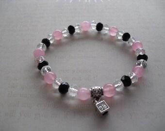 Pink,black & clear crystal quartz gemstones bracelet