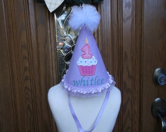 Girls First Birthday Party Hat -- Cupcake Baby Birthday Hat  - Free Personalization -