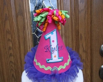 Girls 1st Birthday Party Hat --Hot Pink Birthday Hat  - Free Personalization -