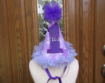 Girls First Birthday Party Hat - Lavender And Purple Birthday Hat - Birthday Party Hat  - Free Personalization