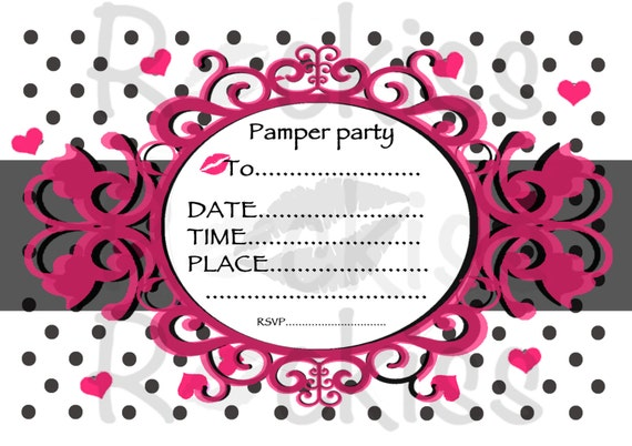 Items similar to Pamper party invitation. Instant download ...