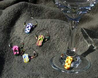 Flip-flop wine charms