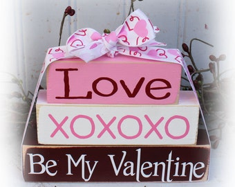 Be My Valentine Itty Bitty Wood Stacker Blocks