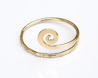 Spiral Hammered Gold Adjustable Knuckle Ring