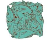 Block of Fish Silkscreen Print