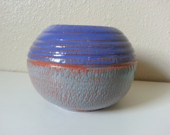Handmade Earthenware Pottery Planter, Exotic Blue Glaze, Chatter Textured Red Clay