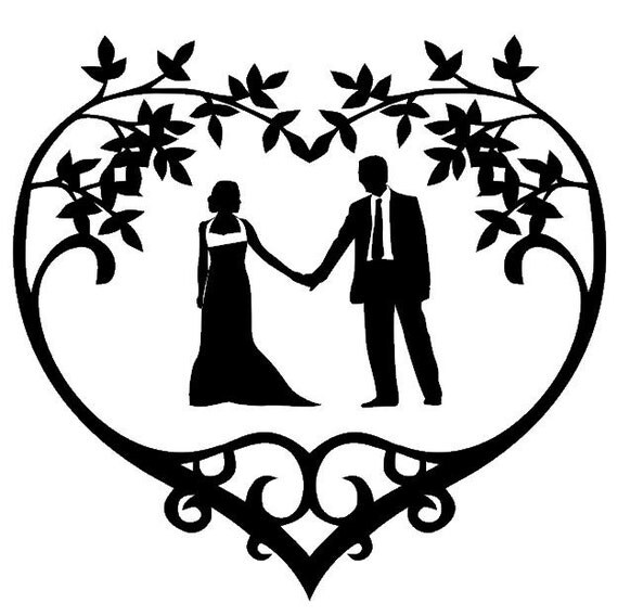 Wedding Couple Silhouette Vinyl Decal by CreativeExpressionsz