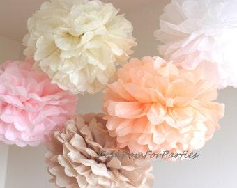 24 (8L/8M/8S) different size Tissue Paper Pom Poms - Hanging poms - Paper flower - Tissue paper balls - Tissue paper pom poms - Tissue Puffs
