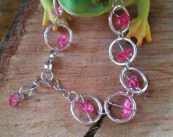 Silver Ring and Pink Glass Bead Bracelet
