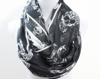 Skull Infinity Scarf Chunky and Silky Black Skull Scarf Infinity Scarf Loop Scarf