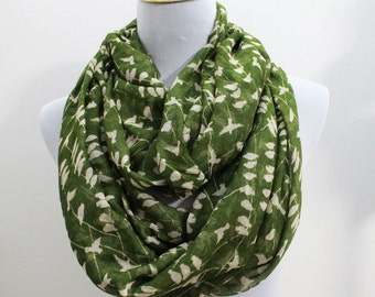 Bird Infinity Scarf, Olive Green Bird on Tree Branch Infinity Scarf, Loop Scarf, Large Scarf, Christmas Gifts, For Her, For Mom, For Girls