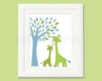 Green giraffe  nursery  Art Print, 8x10, Baby boy room, Kids Room Decor, Children Wall Art -  blue and green nursery, baby giraffe, tree