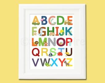 Colorful Alphabet nursery Art Print, 8x10, baby boy room, Kids Room Decor, Children Wall Art