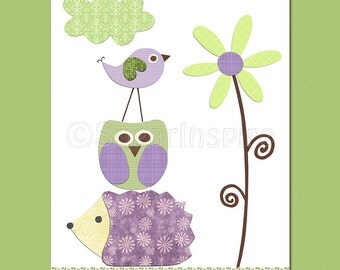 Purple and green nursery art print, 8x10, Kids Room Decor- Flower, love bird, owl, hedgehog