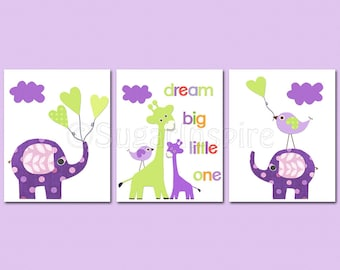 Purple and green Nursery Art Print Set, Kids Room Decor - Lavender, lilac, elephant and giraffe nursery, love birds