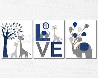 Navy and grey Nursery Art Print Set, Kids Room Decor, Children Wall Art - Tree, love, baby elephant, giraffe nursery, baloon, baby boy