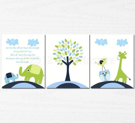 Navy Blue Wall Decor Nursery : Navy blue and green nursery art print set children