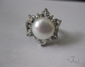 Freshwater Pearl Silver Plated Ring With CZs - White