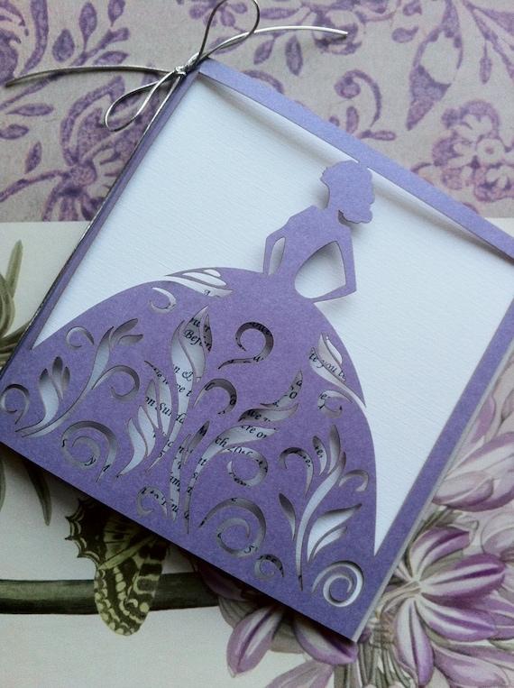 Laser Cut Bridal Shower Invitation Bride Custom Personalized