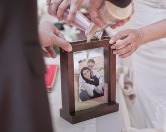 Rustic Unity Wedding Sand Ceremony Photo Frame - Chocolate Brown, Medium Brown, White + Engraving Option Personalization