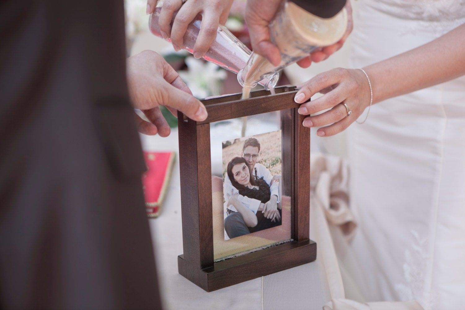 Rustic Unity Wedding Sand Ceremony Photo Frame Chocolate