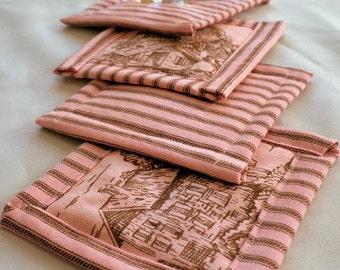 Pink Pastoral Toile Coaster Set - Toile Mug Rugs - Pink and Brown Coasters - Ticking Stripe Coasters