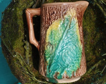 Majolica Fern Leaf Pitcher, Antique, vintage majolica, majolica pottery, Beautiful Green,