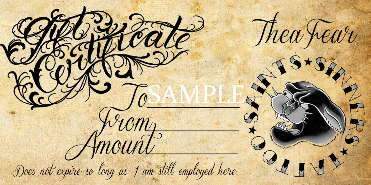 Tattoo gift certificate designs pictures to pin on pinterest tattoo gift certificate template blank pictures to pin on 630x282 items xflitez Image collections