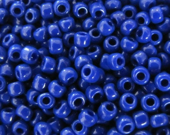 8 / 0 Seed Beads, Opaque Dark Blue,  #8246 Japanese glass seed beads,  10 grams Seed Beads, Beading Supplies,  Blue Seed Beads, Item #363