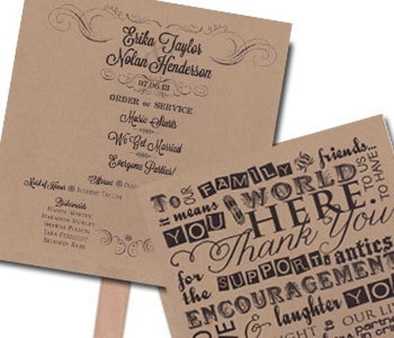 Funny Wedding Program Fan MEDIUM Printed On TWO SHEETS Of