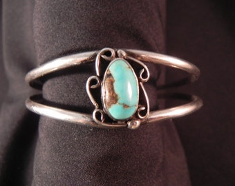 Vintage Cuff Bracelet  Native American Indian  Open Cuff  with Two Bands and Turquoise Setting