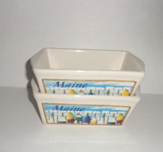 Maine Ceramic Mini Loaf Pan Individual Nautical Theme Baking