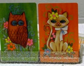 Vintage Owl and Siamese Cat Playing Cards in original container