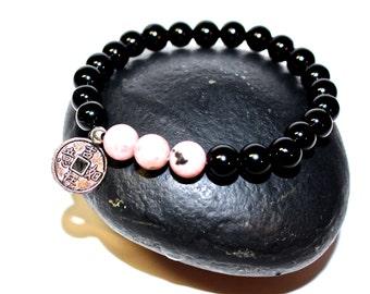 Yoga Bracelet - Chinese Coin Charm bracelet, Mala Beads Bracelet, Boho Spiritual Jewelry, Zen Jewelry