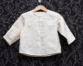 Natural linen boys shirt, wedding shirt, Eco friendly, Boho top in beige color // size US 1-6 (EU 80-116) - ZanziBach