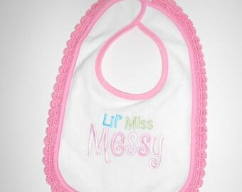 Baby Bib, Infant Bib, Crochet Trimmed Bib, Girl Bib