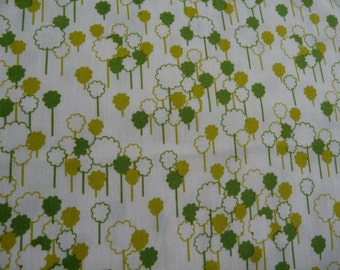 Khristian Howell Tiny Green Trees on White Printed 100% Cotton Fabric