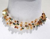 Gold Beaded Wire Choker Necklace with Blue Green Gold Amber Beads - TheKnottyNeedle