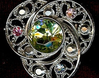 Vintage triple swirl rhinestone brooch