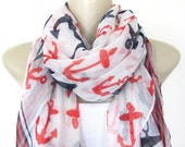 Anchor Print Large Fashion Scarf