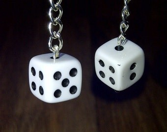 White and Black Dice and Chain Dangle Earrings