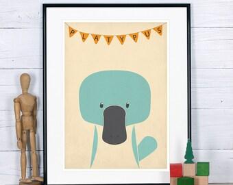 Animal nursery art, Platypus, Cute baby animals, Nursery decor, Nursery animal print, Animal art print, Nursery artwork, Animal wall decor