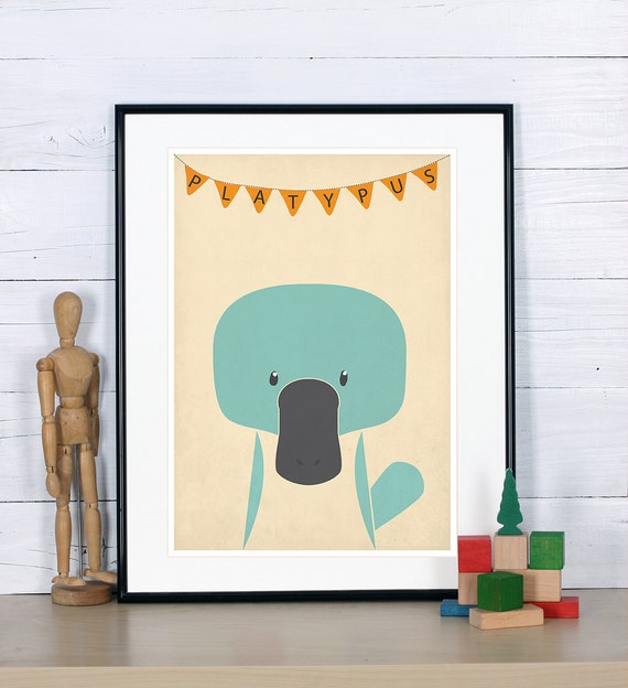 Kids Room Decor Platypus Print Nursery Wall Art Kids Room