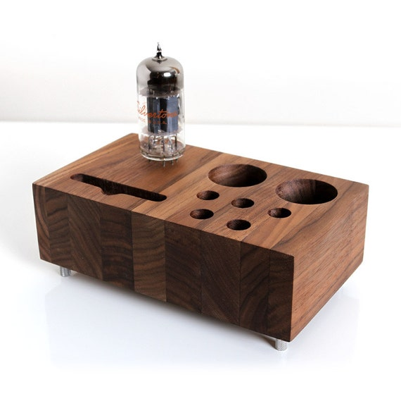 iPhone 5 dock desk caddy / organizer reclaimed walnut wood with ...