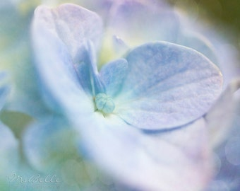 Spring Flower Photography - Hydrangea 4 - 8x10 fine art print - blue lilac lavender aqua pastel floral bokeh cottage chic home decor