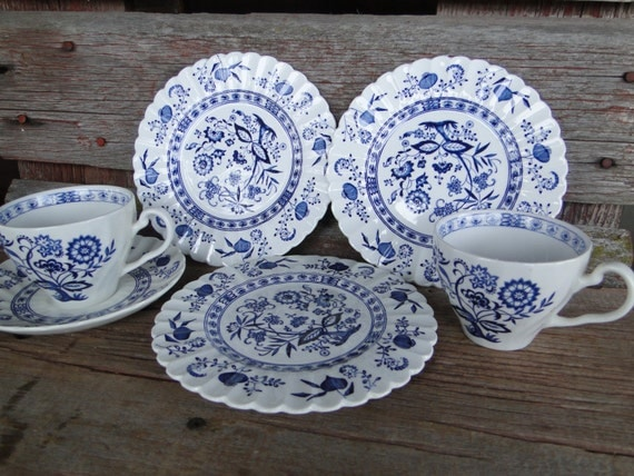 Vintage Blue Nordic Dishes Johnson Bro England J Amp G Meakin