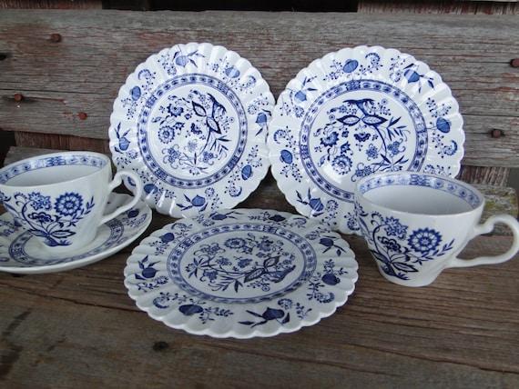 Vintage Blue Nordic Dishes Johnson Bro England J Amp G Meakin