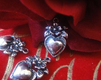 925 sterling silver oxidized heart with flower charm, or pendant, silver heart 1 pc.