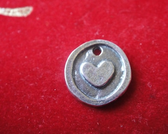 925 sterling silver oxidized heart charm 1 pc., round disc with heart, silver heart, small heart, heart, silver heart charm