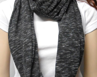 Black & White Heathered  Infinity Scarf  Super Soft